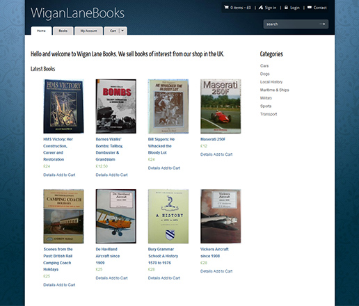 Wigan Lane Books - screenshot of our new online store