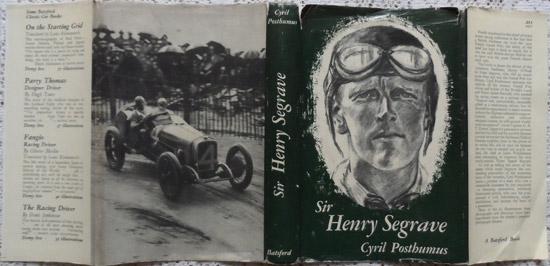Dust jacket  Sir Henry Segrave By Cyril Posthumus